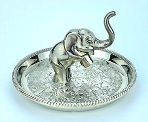 "VINTAGE - SEBA - LARGE 5.25"" SILVER PLATED ELEPHANT RING HOLDER TRINKET DISH"