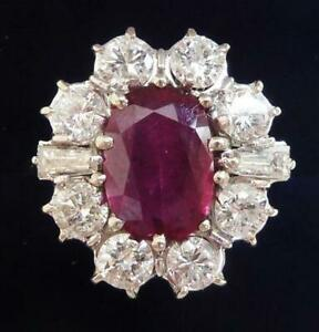Fabulous art deco 18ct white gold 2.75ct ruby and 1.60ct diamond cluster ring