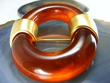 Vintage Signed Givenchy Couture Brooch Amber Celluloid Faux Tortoise Shell