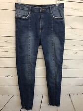 Marfinno 38 Women's Jeans Raw Hem Short Blue Denim Pants Inseam 28