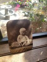 Vintage Photo Plate metal? plate photography antique 4x6 Baby Portrait