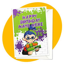 Inkling Boy - PERSONALISED BIRTHDAY CARD - Splatoon personalized gamer greeting
