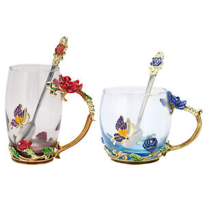 Flower Tea Cup Enamel Craft Coffee Mug Heat Resistant With Spoon For Home
