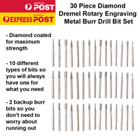 30 Pcs Diamond Burr Engraving Dremel Rotary Metal Tool Drill Bit Kit Set 2.3mm