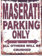 MASERATI PARKING SIGN RETRO VINTAGE STYLE 8x10in 20x25cm garage workshop art