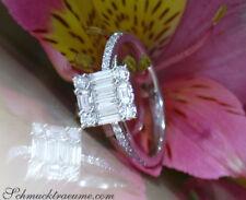 Feinster Brillant Carré Ring mit Baguette Diamanten, 0.55 ct. TW VS WG 750 2700€
