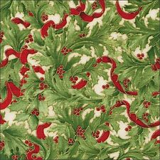 HOLIDAY fiorire NATALE HOLLY & Nastro di tessuto di cotone Robert Kaufman per 1/2m