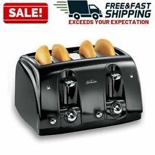 4 Slice Toaster Bread Electric Extra Wide Slots Bagel Burger Buns Kitchen Black
