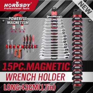 Magnetic Spanner Holder Aluminum 15 Wrench Rack Tool Screwdriver Organizer Red