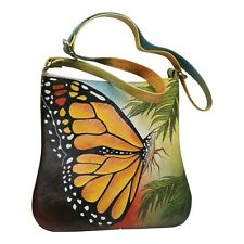 Handpainted Butterfly Shoulder Bag - Leather Crossbody Strap Lined Purse
