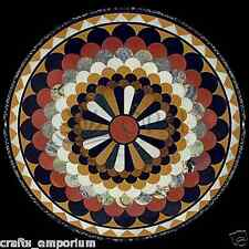 "24"" Black Marble Coffee Table Top Multi Mosaic Inlay Occasional Home Decor Gifts"