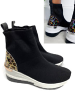 Womens Sock Knit Shoes Runner Wedge Trainers Stretch Ladies Gym Sneakers Size