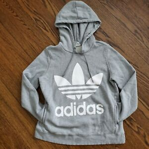 Womens Adidas Hoodie 3 Stripe Logo Pullover Jacket Athletic Gray Sports Casual