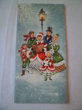Vintage Christmas Greeting Card Victorian Carolers Lamp Post Embossed Sunshine