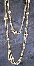 """Vintage ? 50"""" Multi-Strand Silver Tone Chain Necklace w/ Silver Tone Balls"""