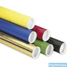 """2"""" x 12""""  Black Blue Gold Green Red Yellow Shipping Mailer Mailing Tubes 50 Pc"""