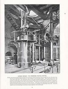 1897 Victorien Imprimé~London Sewage~Crossness Pumping Station~ Plus Text