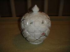 Vintage Westmoreland Milk Glass Lidded Trinket Box Candy Dish-Painted Roses-LQQK