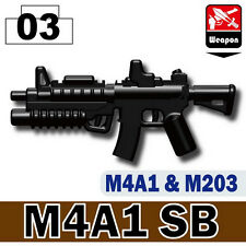 M4A1 (W132) SB Assault Rifle M203 compatible with toy brick minifigures Army M4