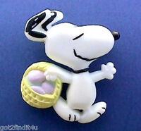 Hallmark PIN Easter Vintage SNOOPY EGG Basket PEANUTS Holiday Brooch