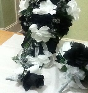 Black and white bouquet boutAnd Free Toss.  Request color Rush order available