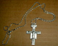 SAN DAMIANO Cross Crucifix Necklace Pendant w/chain NEW Francis Franciscan ITALY