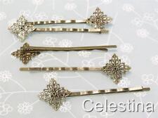 6 x Antique Bronze Filigree Hair Clips Fancy Diamond Shape Hair Slides
