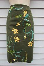 NWT Ann Taylor Green Print Pencil Skirt 14