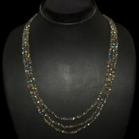 135.35 CTS NATURAL 3 STRAND RICH BLUE FLASH LABRADORITE ROUND CUT BEADS NECKLACE