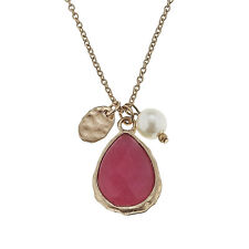 Canvas Gemstone Teardrop Charm Necklace, Fuchsia Jade (10238)