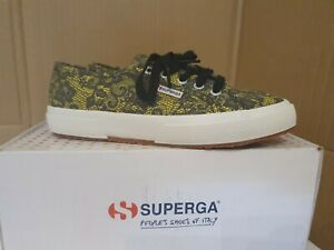 New women Superga fantasy cotu sneakers yellow with black lace