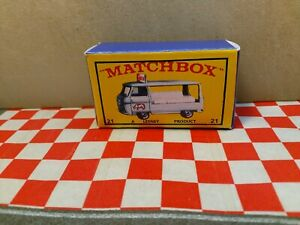 Matchbox Lesney  No,21 Milk Delivery Truck EMPTY REPRO BOX  box Only NO CAR