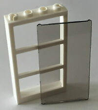 *NEW* Lego 1x4x6 WHITE DOOR FRAME with 3 PANES and TRANS BLACK GLASS 57894