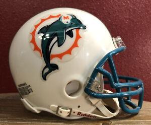Rare NFL Throwback Miami Dolphins Riddell Mini Football Helmet & Facemask