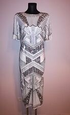 ASOS RED CARPET Iridescent Midi T-Shirt Dress silver size UK 6/8/10 Gatsby
