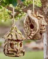 Lodge Outdoor Hanging Birdhouse Natural Wood Look Driftwood Tree House Squirrel