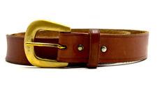 Vintage Mens Real Leather Jeans Belt Brown Size 32