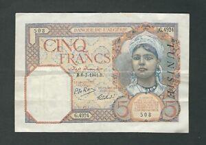 Tunisia - Five (5) Francs, 1941