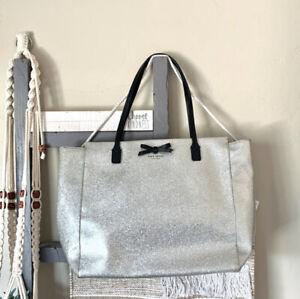 Kate Spade taden Mavis Street Large Tote Bag Silver Glitter Shoulder