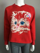 Vtg Womens Cat Graphic Sweater Reno Nevada Medium USA Made Fruit Of The Loom Red