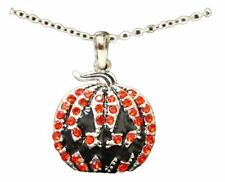 Halloween Jewelry~ Pumpkin Necklace with Orange Crystal Rhinestones Gift Boxed!