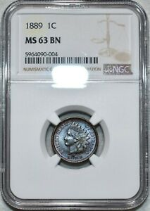 NGC MS-63 BN 1889 Indian Head Cent, Attractively toned specimen.