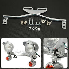 CHROME STEEL MOTORCYCLE PASSING TURN SIGNALS SPOT LIGHT LAMP BAR CUSTOM NEW