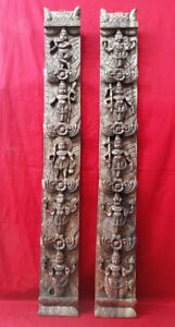 Hindu God Vishnu Dashavatar Temple Vintage Vertical Wooden Wall Panel Decor Rare