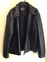 Vintage Men's Genuine Leather Jacket, Original Outerwear, Black, Size XL Nice
