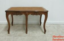 Antique Quality French Country Carved  Cane  Bench Stool Coffee Table