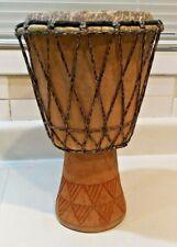 "VINTAGE Hand Carved Wood African Djembe Bongo Drum 14"" X 8 3/4"""