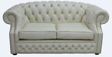 Chesterfield Buckingham 2 Seater Cottonseed Cream Leather Sofa Settee