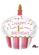 Pink 1st Birthday Cupcake SuperShape Helium Balloon