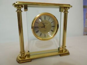 Seth Thomas Desk /Shelf Clock Brass & Glass Floating Dial German Quartz Movement